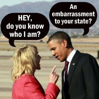 Gov Jan Brewer & President Obama - hey do you know who I am